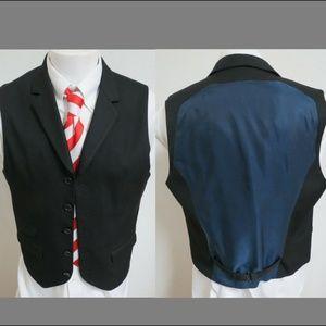Sz M Black/Blue Stripe A/X Mens #B96 Suit Vest